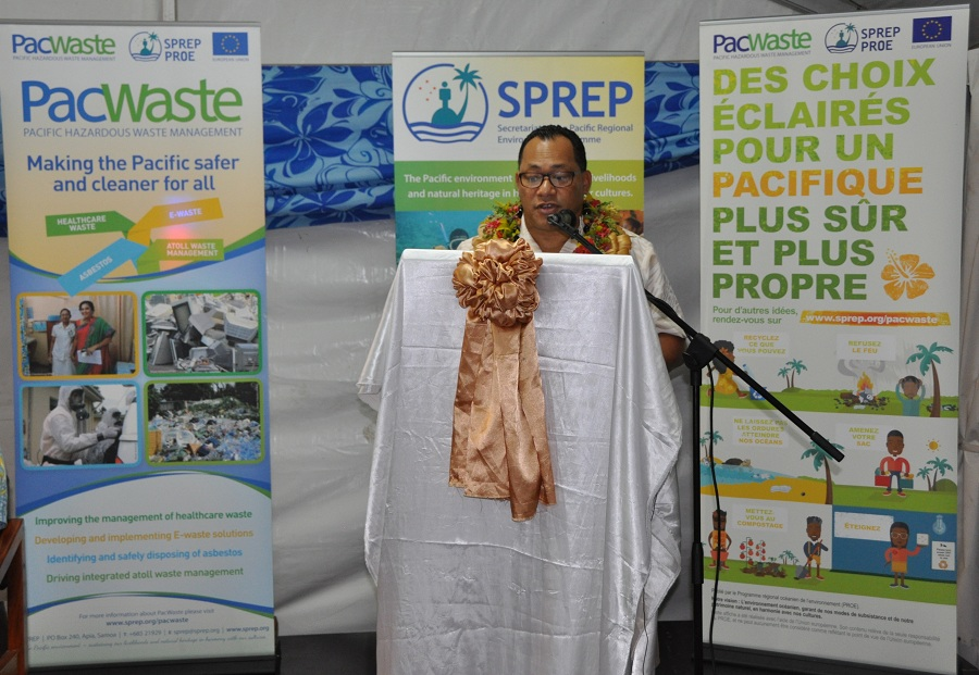 DG of SPREP Mr.Kosi Latu delivering his speech at the opening of the SPREP office in Suva