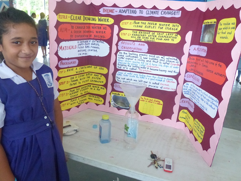 Primary school students display their knowledge of climate change at