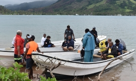 Taveuni traditional leaders preparing for a boat trip to a project site in Kadavu as part of the exchange programme this month.