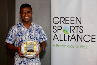 Raka 7s Rugby Tournament Sustainability Coordinator Dwain Qalovaki accepting the 2018 Innovator of the Year award at the Green Sports Alliance Summit