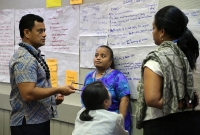 Group work identifying priority waste streams for Pacific islands