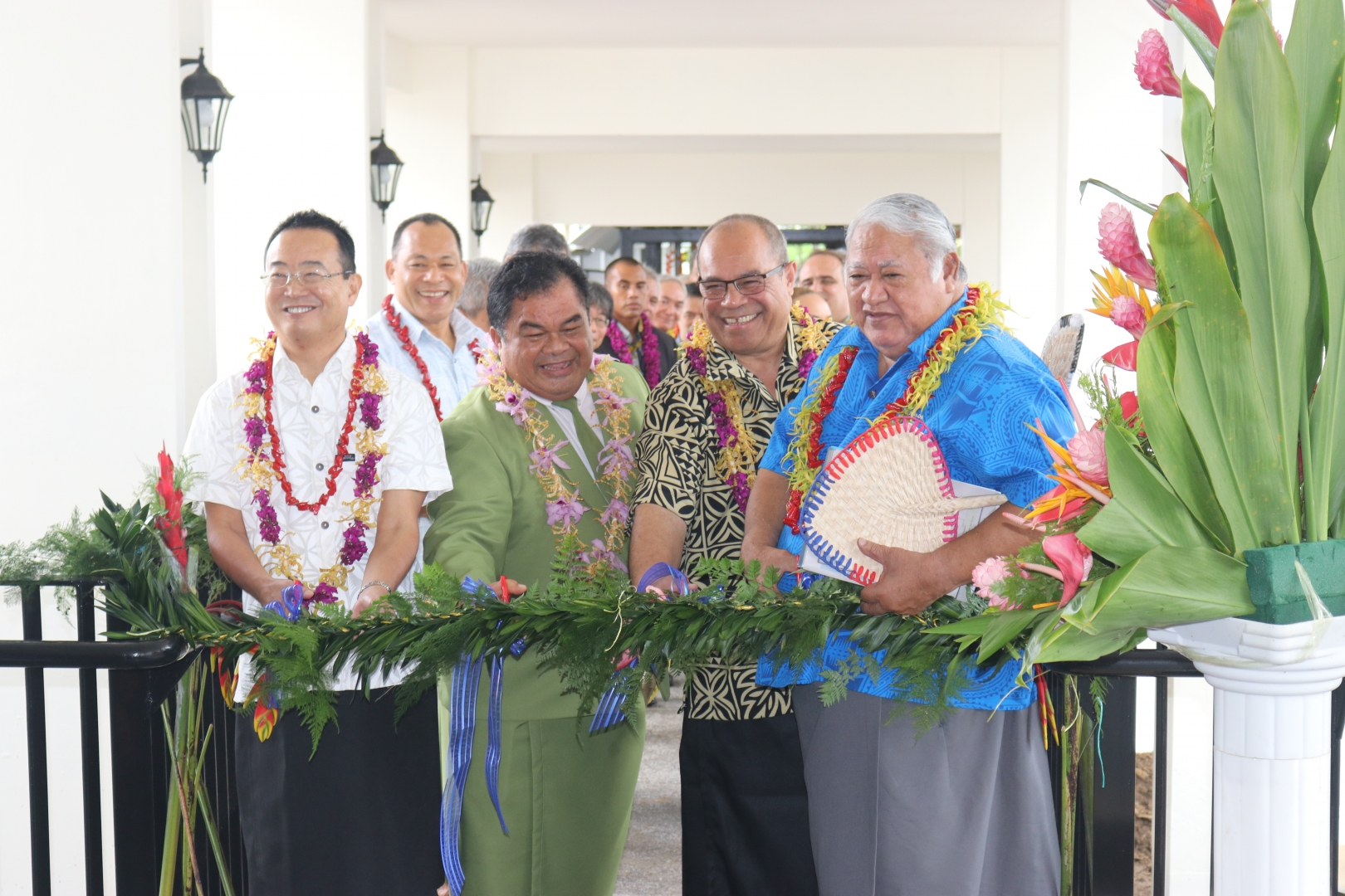 PM Tuilaepa, Minister Aupito William Sio, Ambassador Shinya Aoki and Rev Nuuausala Siaosi